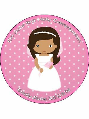 Holy Communion Girl Dress Bible Wafer Or Icing Edible Round Cake Topper • 4.99£