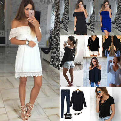 AU10.20 • Buy Women Off-shoulder Bridesmaid Wedding Party Cocktail Lace Maxi Short Sexy Dress