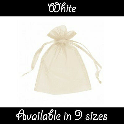 £4.99 • Buy White Organza Gift Pouch Wedding Favour Jewellery Bags In 23 Colours & 9 Sizes