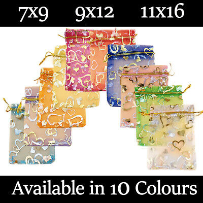 £4.99 • Buy Small Heart Organza Gift Wedding Favour Bag Jewellery Pouch 10 Colours & 3 Sizes