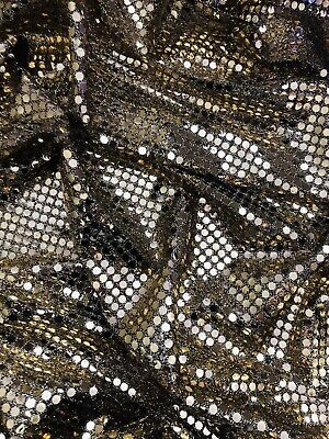 """$5.51 • Buy 6mm Gold Sparkly Sequin,fancy Dress,costume,dress Fabric..45"""" Wide (114cm)"""