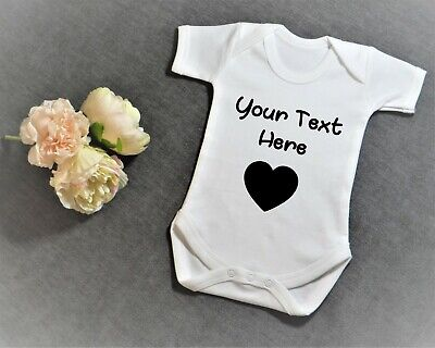 £6.99 • Buy Personalised Printed Baby Vest Bodysuit Any Name Text With Heart - Short Sleeves