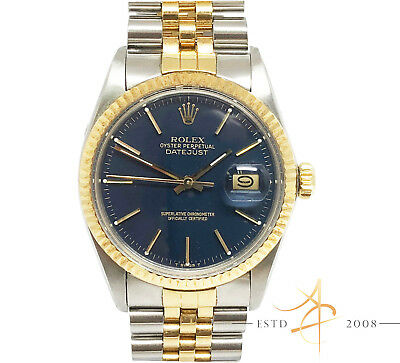 $ CDN7354.80 • Buy Rolex Vintage Oyster Perpetual Datejust Ref 16013 Rare Blue Dial Box Certificate