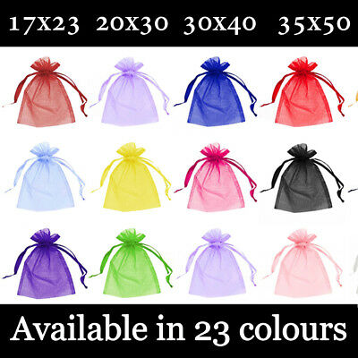 £4.99 • Buy Large Organza Gift Pouch Wedding Favour Bag Jewellery Pouch 23 Colours & 4 Sizes