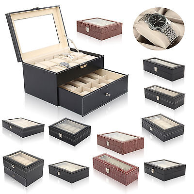 $ CDN36.68 • Buy 6-24 Grid Slots Watch Box Leather Display Glass Top Jewelry Storage Case