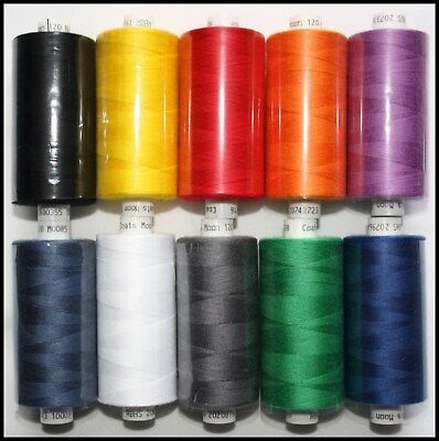 10 X MIXED COATS MOON SPUN POLYESTER MACHINE AND HAND SEWING THREAD COTTON • 8.99£