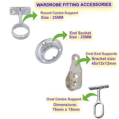 £2.99 • Buy Wardrobe Fitting Accessories Fitting Tube Hanging Bracket Center End Brackets