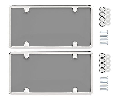 $10.95 • Buy 2 Universal UNBREAKABLE Tinted Smoke License Plate Shield Cover + 2 Chrome Framе