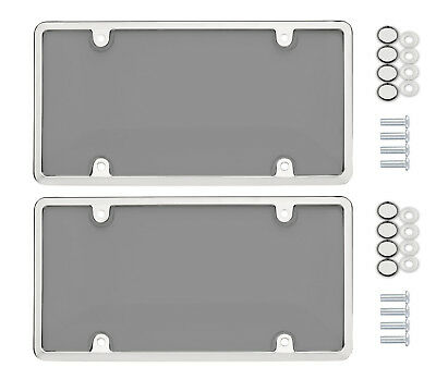 $10.95 • Buy 2x Bubble Smoked Tinted License Plate Tag Shield Cover Chrome Frame