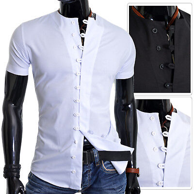 £16.95 • Buy Mens Dress Shirt Casual Round Collarless Cotton Short Sleeve Indian Style S-3XL