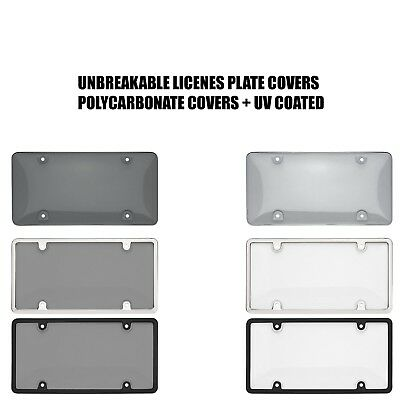 $8.75 • Buy Smoked Clear License Plate Cover Frame Shield Tinted Bubbled Flat Car