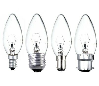 2 5 10 20 Candle Light Bulb Clear Traditional Filament BC SBC ES SES 25w 40w 60w • 5.95£