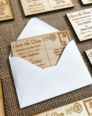 AU25.96 • Buy Wooden Personalised Engraved Save The Date Rustic Postcard Magnets Wedding