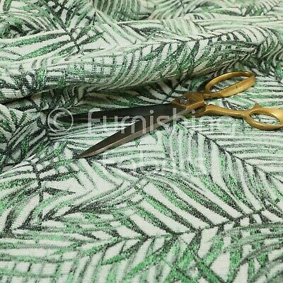 £0.99 • Buy New Jungle Leaf Inspired Pattern White Green Colour Chenille Furnishing Fabric