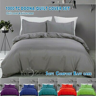 AU38.93 • Buy 1000TC 3 Piece Quilt/Duvet/Doona Cover Set S/KS/D/Queen/King/Super King Size Bed