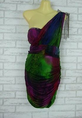 AU45 • Buy Y LONDON Dress Sz M 10 Blue Purple Green Pythohn Print Diamante Trim Party