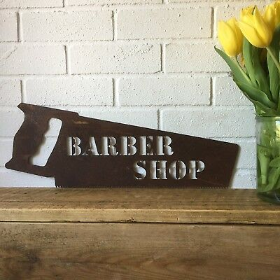 Rusty BARBERS SHOP SAW Sign Metal Shop Front Home Barbershop Shave Parlour • 34.99£