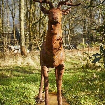 £750 • Buy Cast Iron Rust Majestic Stag Statue Facing Forward - Garden Feature Home Decor