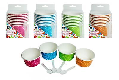 8 Ice Cream Tubs 4 Asst Colours With Plastic Spoons Summer Party Bbq Picnic • 6.95£
