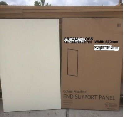 REPLACEMENT KITCHEN SUPPORT END CLAD ON BASE PANEL 591X1045mm CREAM GLOSS (CUT ) • 37£