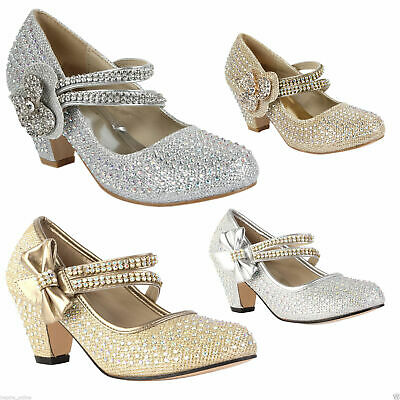 Girls Childrens Kids High Mid Heel Diamante Party Shoes Bridesmaid Sandals Size • 8.99£