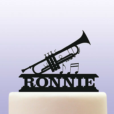 £12.99 • Buy Personalised Acrylic Trumpet And Musical Notes Birthday Cake Topper Decoration