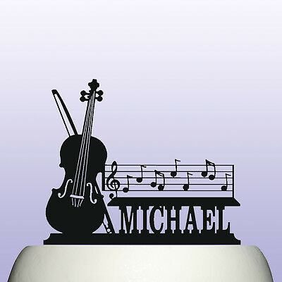 £12.99 • Buy Personalised Acrylic Violin And Musical Notes Birthday Cake Topper Decoration