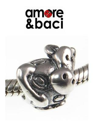 £16.99 • Buy Genuine AMORE & BACI 925 Sterling Silver COW Charm Bead RRP £20