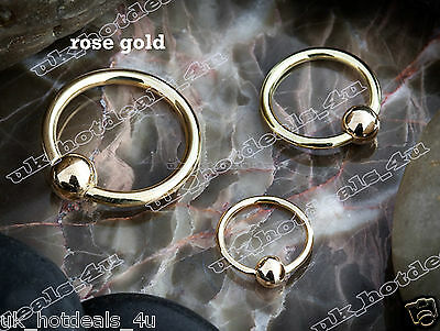 Rose Gold Plated Captive Bead Ring / Hoop / Lip / Nose / Belly Bar / Nipple Bar • 0.99£