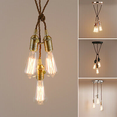 £14.95 • Buy 1 /3 Light Canopy Ceiling Pendant Fabric Cable Mounting Kit Edison Light
