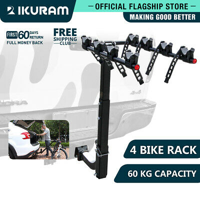 AU125.99 • Buy IKURAM 4 Bicycle Carrier Bike Car Rear Rack 2  TowBar Steel Foldable Hitch Mount