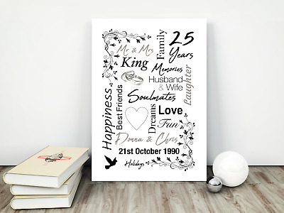 Personalised Anniversary Print / Picture, Wedding Gifts,  Any Year A4 / Present • 6.95£