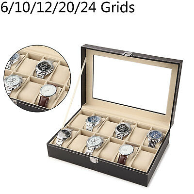 $ CDN15.16 • Buy 6-24 Grids Watch Display Case Jewelry Collection Storage Organizer Leather Box