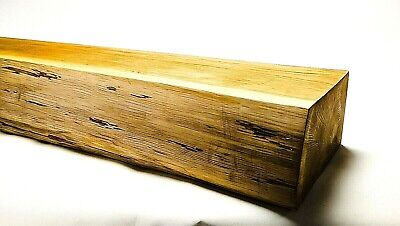Solid Oak Beam Floating Shelf Wooden Mantle Piece 1 SIDE WANEY WITHOUT BARK EDGE • 69£