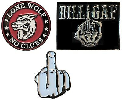 Middle Finger Lone Wolf No Club Gang DILLIGAF Motorcycle Metal Biker Badge Set • 4.99£