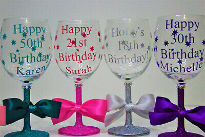 £10.99 • Buy Personalised  Happy Birthday Glitter Wine Glass 18th 21st 30th 40th 50th Gift
