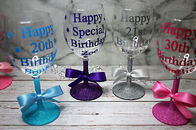 Personalised Name Happy Birthday Glitter Wine Glass 18th 21st 30th 40th 50th • 10.99£