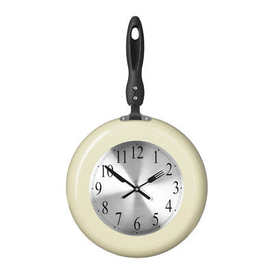 Premier Housewares Wall Clock, Cream Frying Pan Kitchen Design, Metal & Plastic • 22.99£