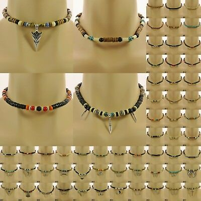 Surfer Style Bead Necklace Boho Beaded Choker Mens Ladies Womens Boys Jewellery • 3.99£