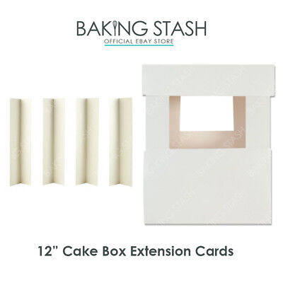 Cake Box Extension Corner Cards - Extender For Tiered Cakes - 12 /30cm Height • 3.70£