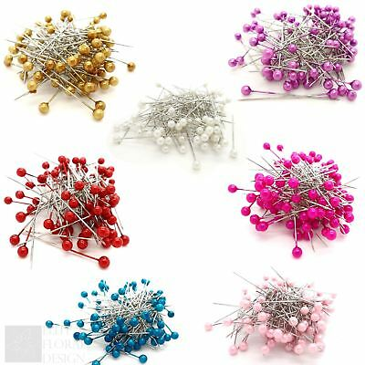 £2.95 • Buy Pearl Pins 4mm Heads 1.5 Inch Florist Bouquet Corsage Dress Making Crafts