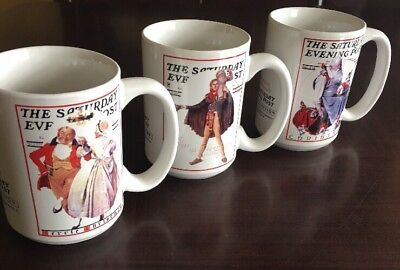 $ CDN11.42 • Buy Set Of 3 Norman Rockwell - The Saturday Evening Post Christmas Collection Mugs