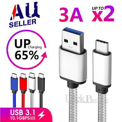 AU9.99 • Buy USB 3.1 Type-C USB-C Data Charger Cable For Samsung S21 S20 Ultra S10 A21s A12