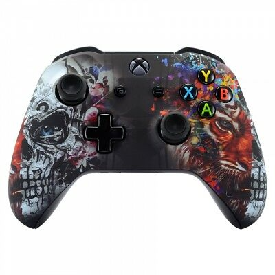 Soft Touch Tiger Skull Faceplate Housing Shell For Xbox One S X Game Controller • 15.78$