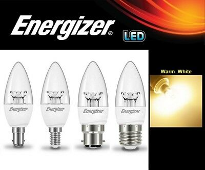 1/2/4/6/10x Energizer LED 5.9W Candle Lamps Light Bulb Warm White Bulbs - CLEAR • 29.45£