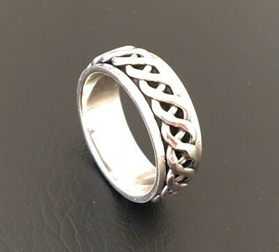 Men Sterling Silver Ring Spinner Spinning Knot Band 9mm Rotate Sz 9 10 11 12 13 • 32.47£
