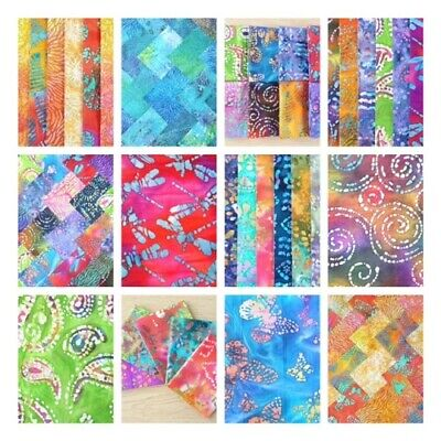 Batiks Charm Packs, Jelly Roll Strips, Layer Cake, Metre Cotton Patchwork Fabric • 5.25£