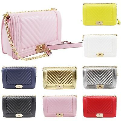 Women Ladies Quilted Cross Body Bag Gold Chain Designer Messenger Party Bags • 19.99£