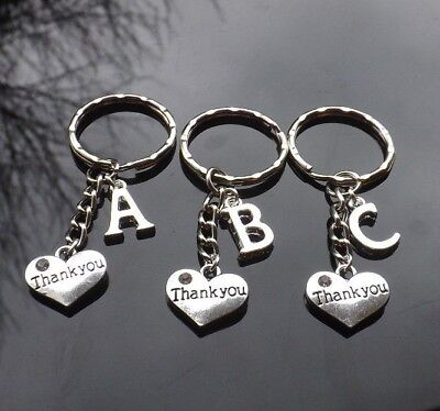 Personalised Initial Thank You Gift Keyring With Heart & Silver Plated Letter • 2.50£