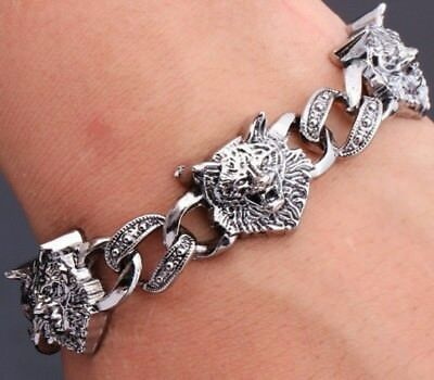 Silver Wolf Head Chain Link Bracelet Bangle Fenrir Wolves Norse Viking F5 Uk • 6.95£
